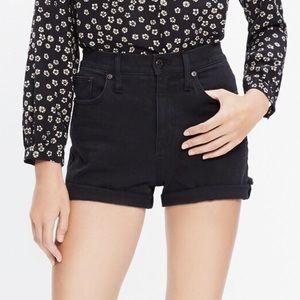 Madewell Black Denim High Rise High Waisted Shorts